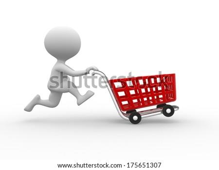 man with cart - stock photo