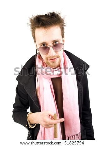 man with cigar - stock photo