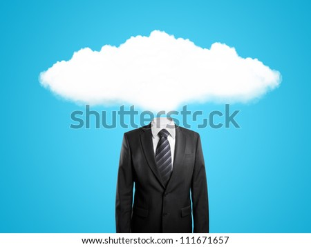 man with cloud instead of head  on blue background - stock photo