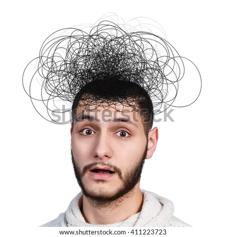Man with confusing tangle of thoughts - stock photo