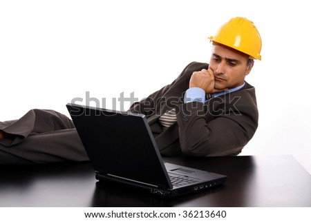 man with construction hat portrait on white background - stock photo
