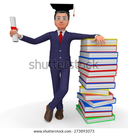 Man With Diploma Showing New Grad And Training - stock photo
