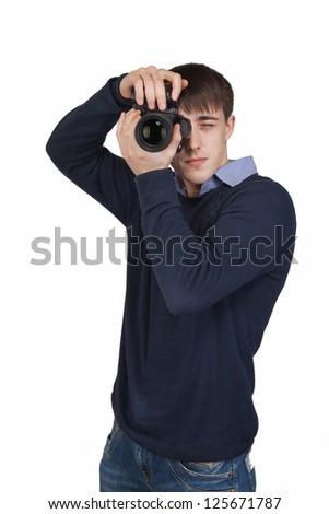 man with dslr camera - stock photo