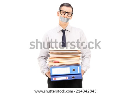 Man with duct taped mouth holding documents isolated on white background - stock photo