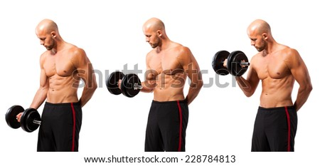 man with dumbbell in 3 different stages of the exercise - stock photo