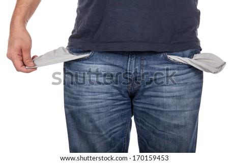 Man with empty pocket on white background - stock photo