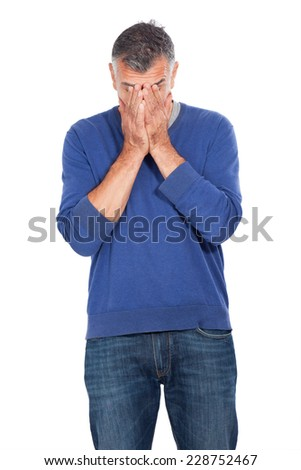 man with fear - stock photo