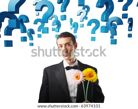 man with flowers and question mark background - stock photo