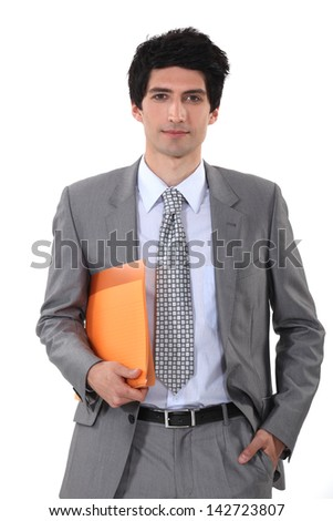 Man with folder in hand - stock photo
