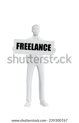 Man with freelance message - stock photo