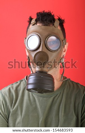 man with gas mask, polution chemical concept - stock photo