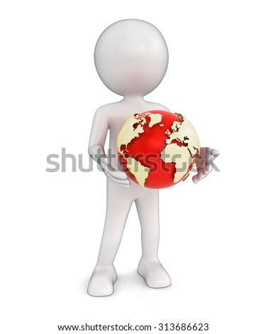 Man with globe Elements of this image furnished by NASA	 - stock photo