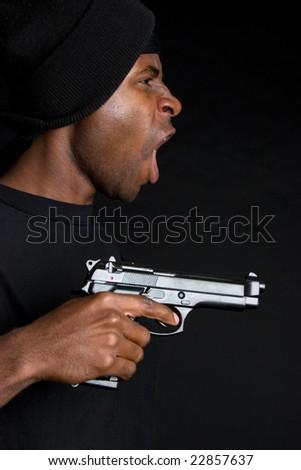 Man with Gun - stock photo