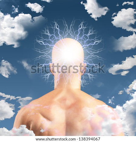 Man with Head in clouds - stock photo