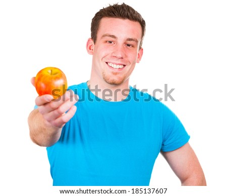 Man with healthy apple - stock photo