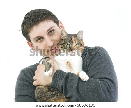 man with his cat isolated on white - stock photo