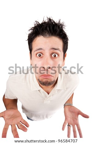 Man with his hands outstretched and a funny look - stock photo