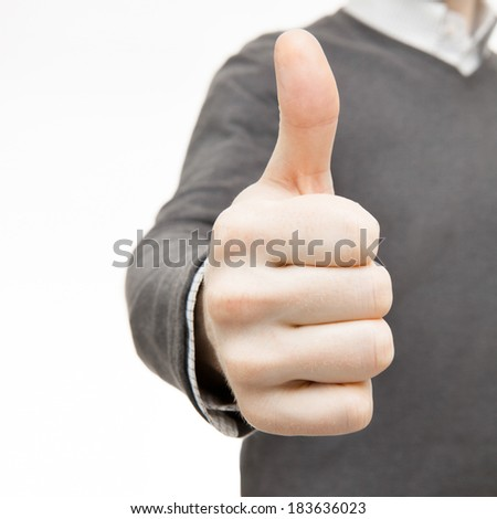 Man with his thumb up - 1 to 1 ratio - stock photo