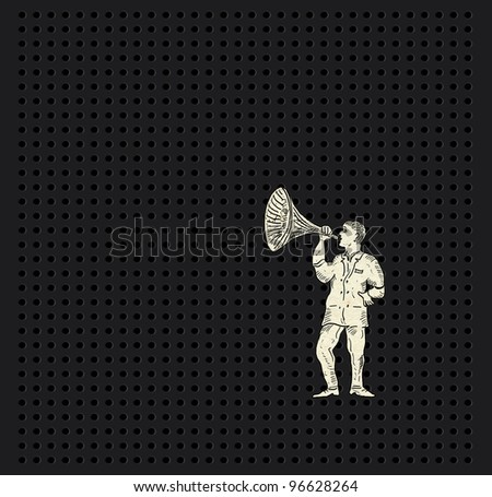 Man with horn - stock photo