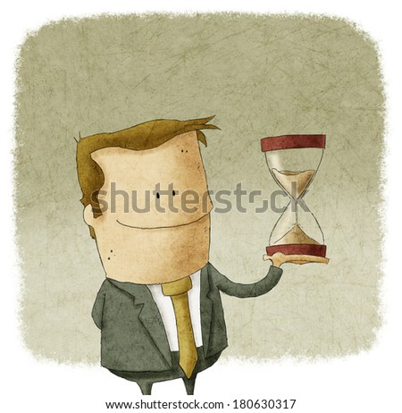 man with hourglass in hand - stock photo