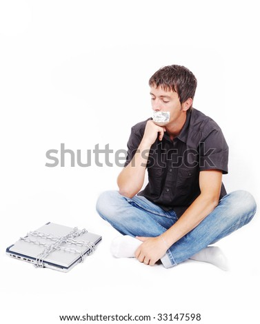 Man with isolated mouth and chained laptop - stock photo