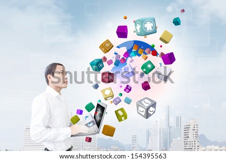 Man With IT Concept - stock photo