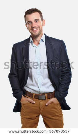 Man with jacket smiling - stock photo