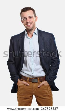 Man with jacket smiling - stock photo