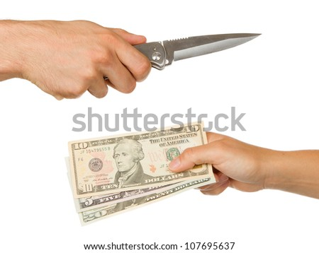 Man with knife threatening a woman to give money - stock photo
