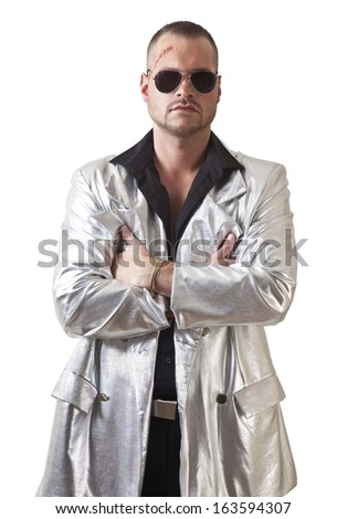 man with laceration and sunglasses, the portrait pimp style - stock photo