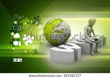 Man with laptop sitting on www label - stock photo