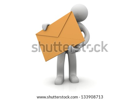 Man with letter in the hands - stock photo