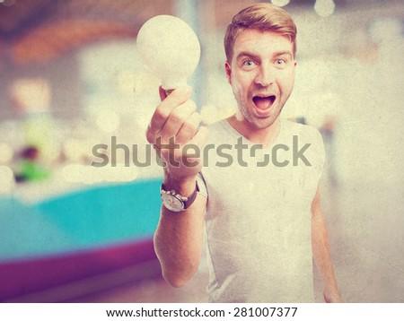 man with light bulb - stock photo