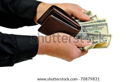 Man with long sleeved dress shirt offering money and wallet. Isolated on white. - stock photo