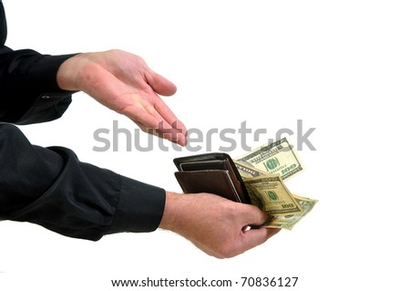 Man with long sleeved dress shirt offering money from wallet as payment. Isolated on white. - stock photo