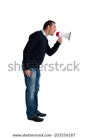 man with loudhailer or megaphone isolated on white background - stock photo