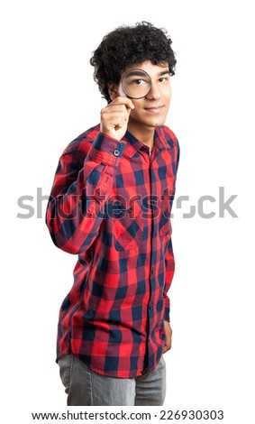 Man With Magnifying Glass Isolated On White - stock photo