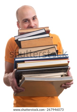 man with many books isolated on white background - stock photo