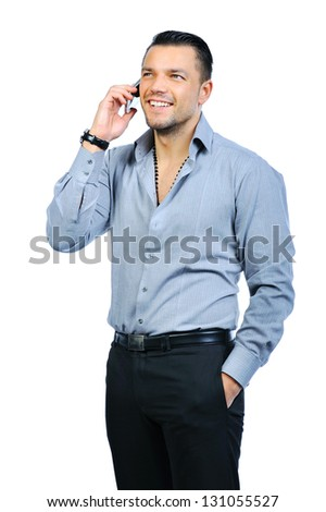 Man with mobile phone - stock photo
