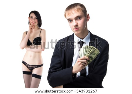 Man with money in suit and woman in underwear. Isolated photo of people with white background. - stock photo