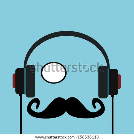 man with monocle listening to headphones - stock photo