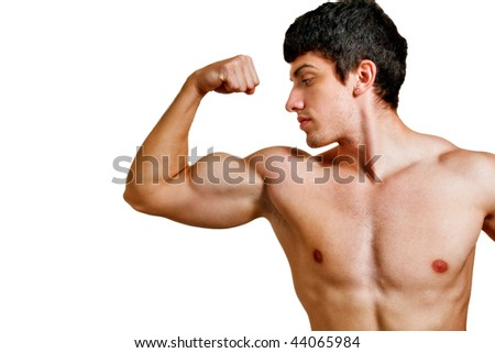 Man with muscular biceps isolated on white background - stock photo