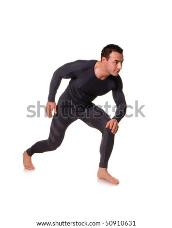 Man with muscular body posing isolated on white background. - stock photo