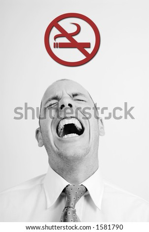 Man with nonsmoking si - stock photo