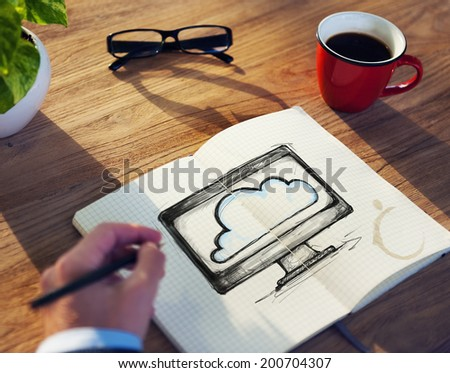 Man with Note Pad and Cloud Computing Concept - stock photo
