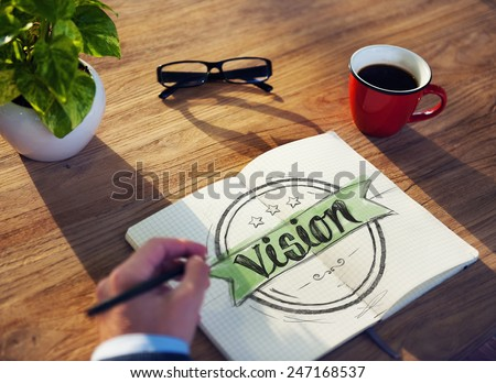 Man with Note Pad and Vision Concept - stock photo