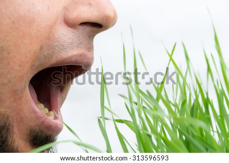 Man with open mouth about to eat wheatgrass, isolated on white. - stock photo