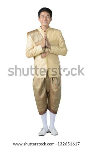 Man with Original Thailand uniform style on isolated white background - stock photo
