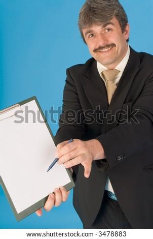 man with pencil an notepade - stock photo