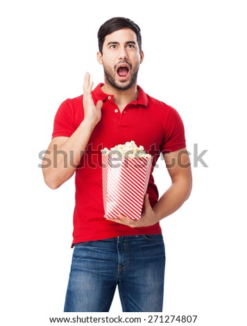man with popcorn - stock photo
